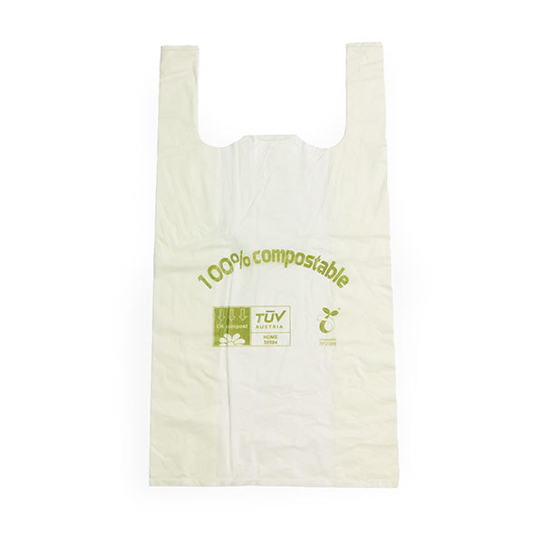Compostable Carrier Bags - Vest Style, Packed 100