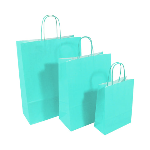 Blue Twist Handle Paper Carrier Bags - Robins Packaging
