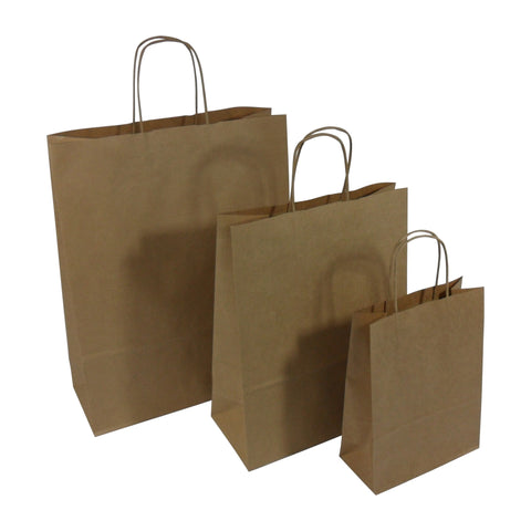 Brown Kraft Twist Handle Paper Carrier Bags - Robins Packaging