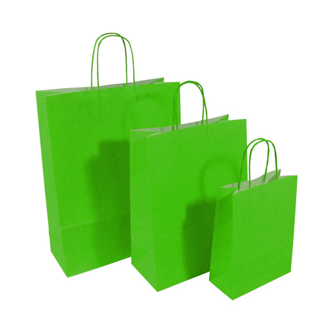 Green Twist Handle Paper Carrier Bags - Robins Packaging