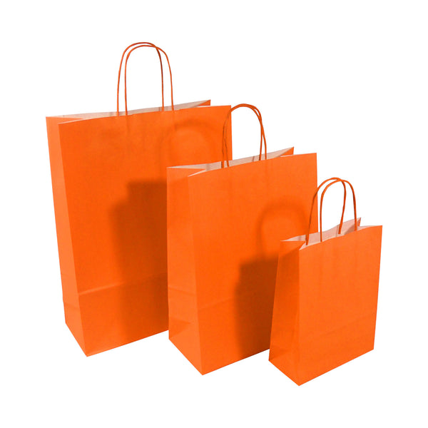 Orange Twist Handle Paper Carrier Bags