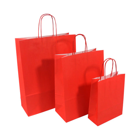 Red Twist Handle Paper Carrier Bags - Robins Packaging