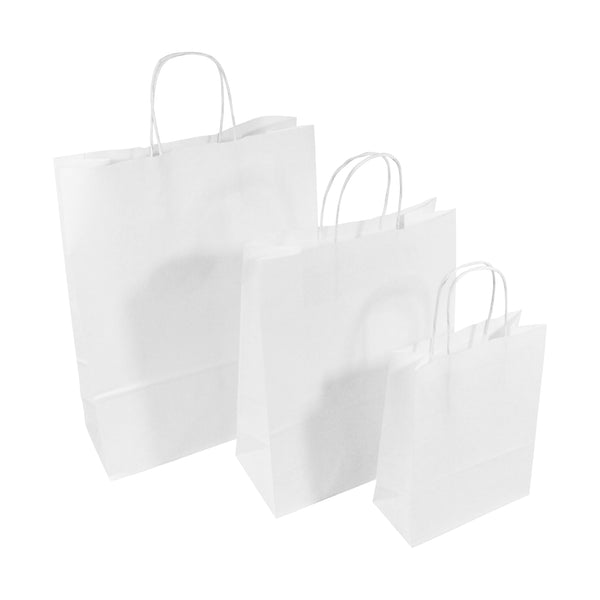 White Twist Handle Paper Carrier Bags