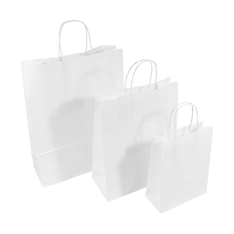 White Twist Handle Paper Carrier Bags - Robins Packaging