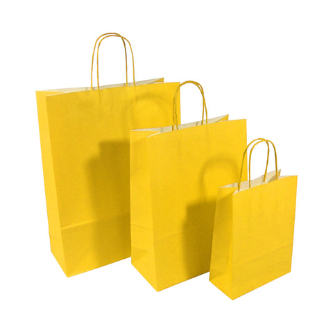 Yellow Twist Handle Paper Carrier Bags - Robins Packaging