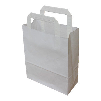 White Kraft Flat Handle Paper Bags - Robins Packaging