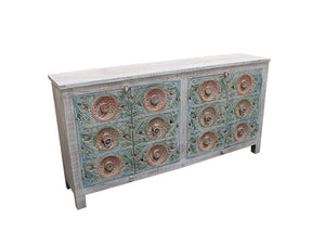 Chest of 6 drawers with carved patina - Kif-Kif Import