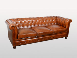 Canapé en cuir 3/4 places Chesterfield