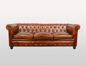 Chesterfield 3 / 4 leather sofa - Kif-Kif Import