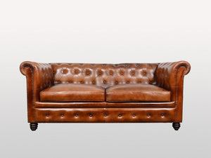 Chesterfield 2-seater leather sofa - Kif-Kif Import