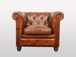 Chesterfield leather armchair - Kif-Kif Import
