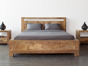 Wooden bed with box spring - Dhaka - Kif-Kif Import