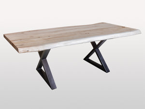 Live Edge dining table whitewashed acacia wood