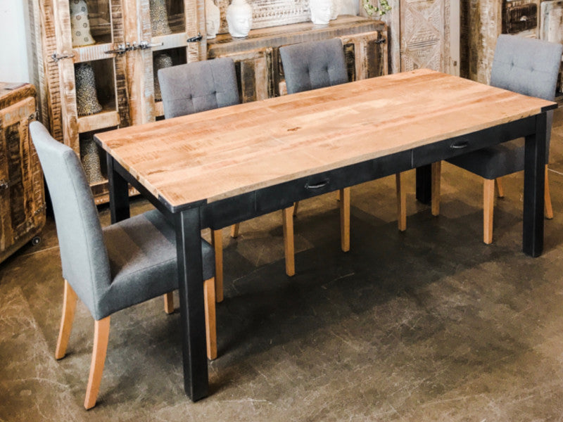 Table A Diner Alfred 4 Tiroirs Bois Metal