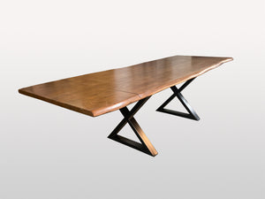 Extendable dining table with metal base X hazelnut color