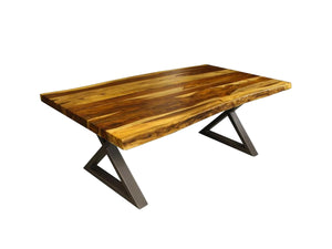 Live Edge champagne rosewood dining table with metal base X - Kif-Kif Import