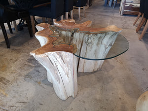 Table basse avec vitre Nature - Kif-Kif Import