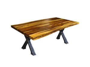 Live Edge champagne rosewood dining table with metal base Docks - Kif-Kif Import