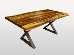 Live Edge dining table X legs