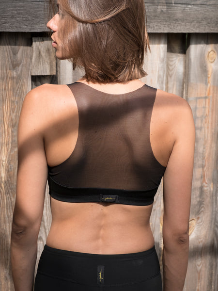 No Tan Black/Mesh Sports Bra