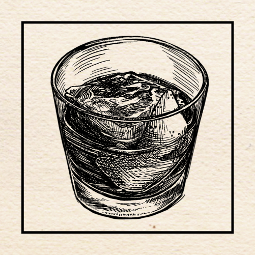"Illustration of Jason Cook's (Barlow) ""Backward Finesse"" Old Fashioned. Portland, Oregon."