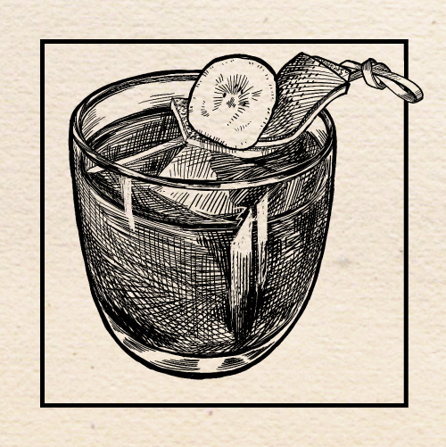 "Illustration of Conner Slevin's (Loyal Legion) ""Banana Hammock"" Old Fashioned. Portland, Oregon."