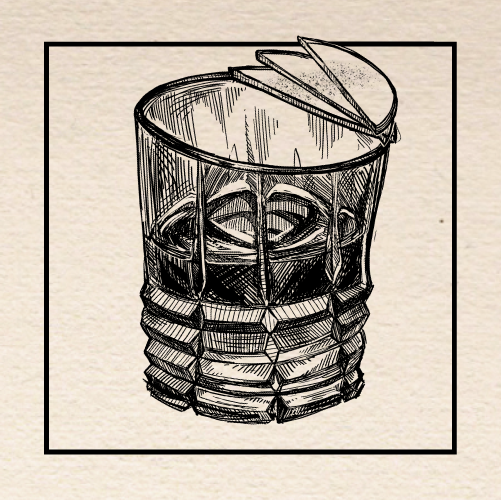 "Illustration of Jason N. Le's (Multnomah Whiskey Library) ""Clopin-Clopant"" Old Fashioned. Portland, Oregon."