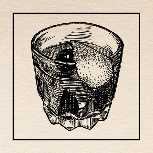 "Illustration of Parresh Palacios's ""Fall Fashioned"" Old Fashioned. Portland, Oregon."