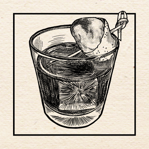 "Illustration of Matt Gumm's (Lo Bar) ""Postcard"" Old Fashioned. Portland, Oregon."