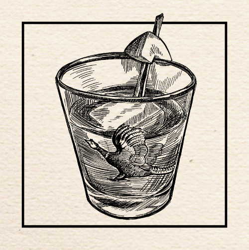 "Illustration of Jesse Collins's (Gold Dust Meridian) ""Quince Upon a Time"" Old Fashioned. Portland, Oregon."