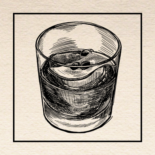 "Illustration of Joshua Owen's ""Salting the Mine"" Old Fashioned. Portland, Oregon."