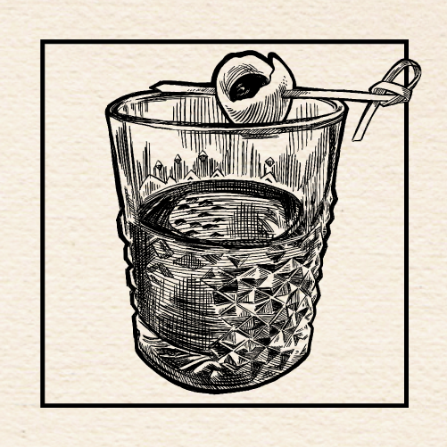 "Illustration of Aaron Howard's (North End Saloon) ""Side Arm"" Old Fashioned. Portland, Oregon."