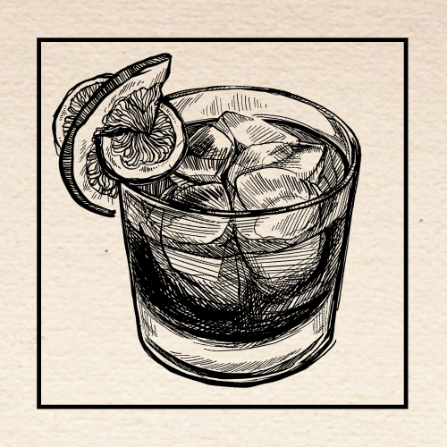 "Illustration of Jeanette Conner's (North 45) ""Vieux Loire"" Old Fashioned. Portland, Oregon."