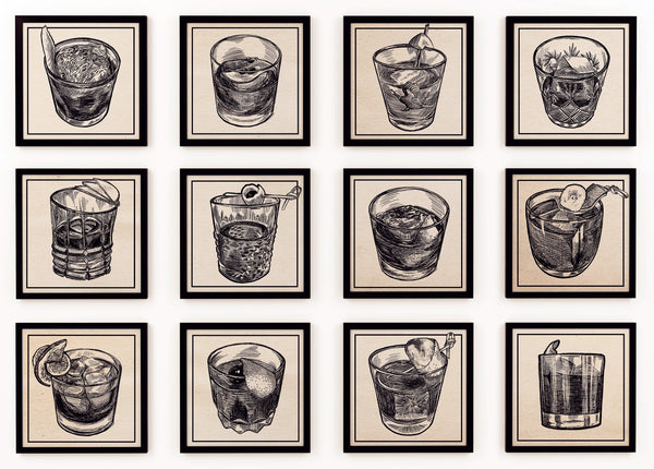 The complete collection of the illustrations of the Old Fashioned Cocktails from the finalists of the Portland Old Fashioned Face-Off.  Portland, Oregon.