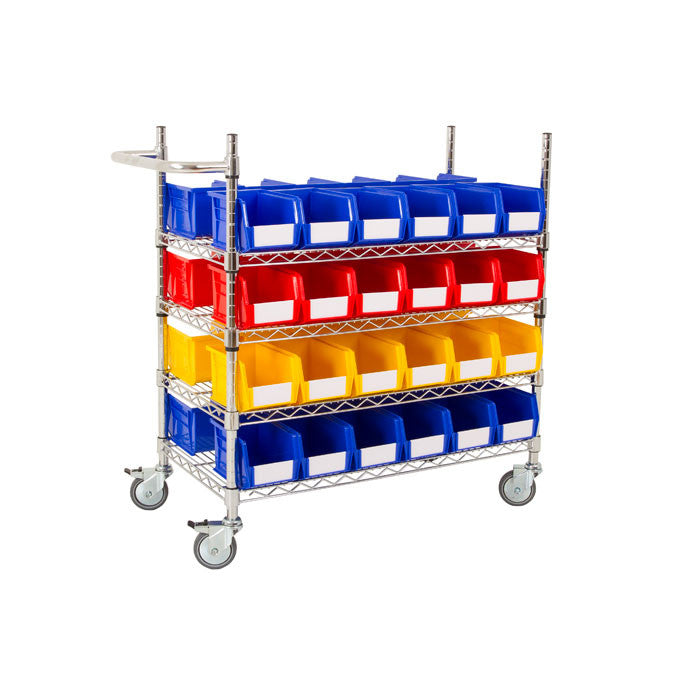 Chrome Wire Trolley & Bins - Oracle Workplace