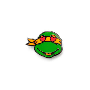 Orange Turtle Heart Eyes Emoji Pin - Warrior Pins