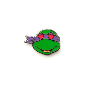 Purple Turtle Heart Eyes Emoji Pin - Warrior Pins
