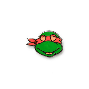 Red Turtle Heart Eyes Emoji Pin - Warrior Pins
