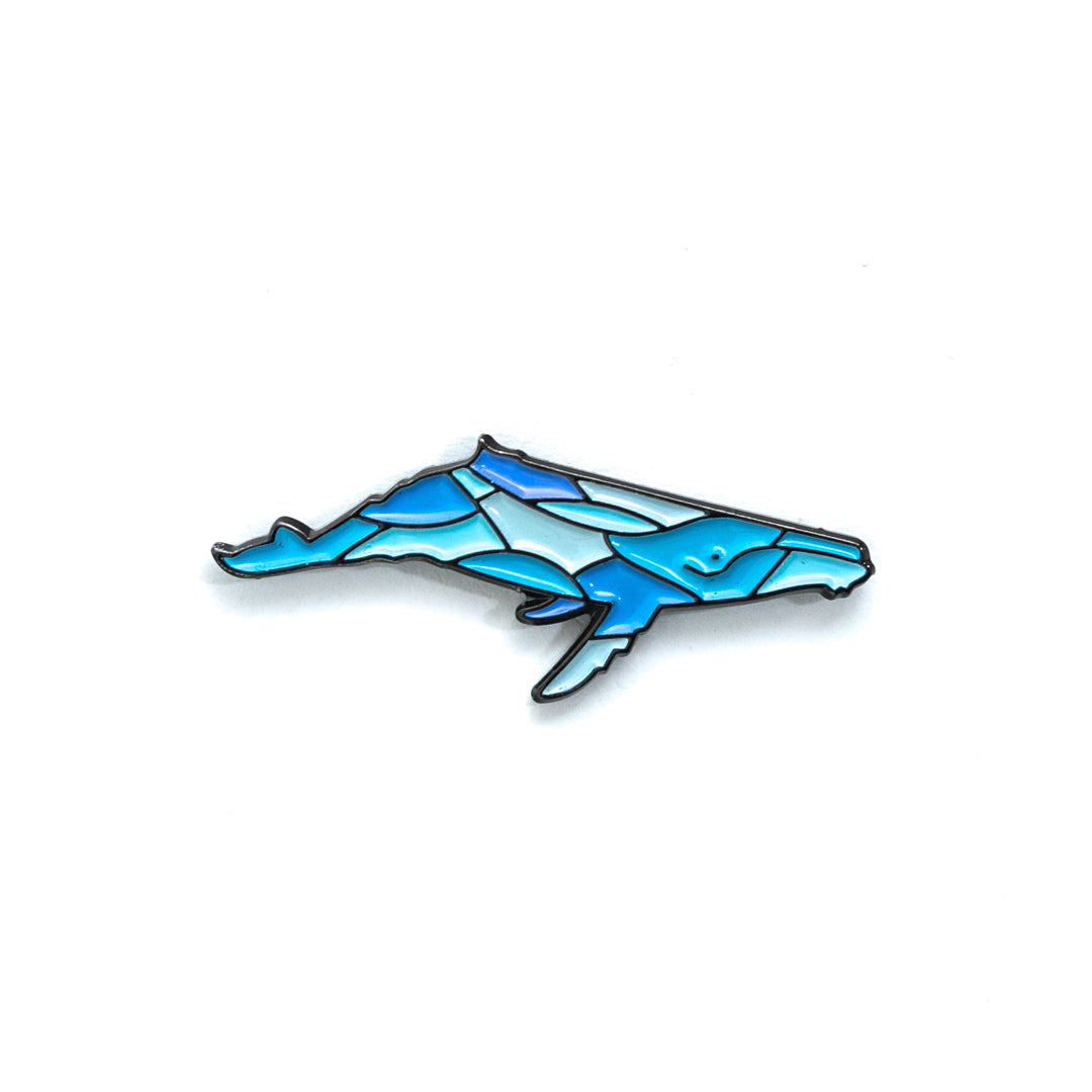Blue Humpback Whale Enamel Pin