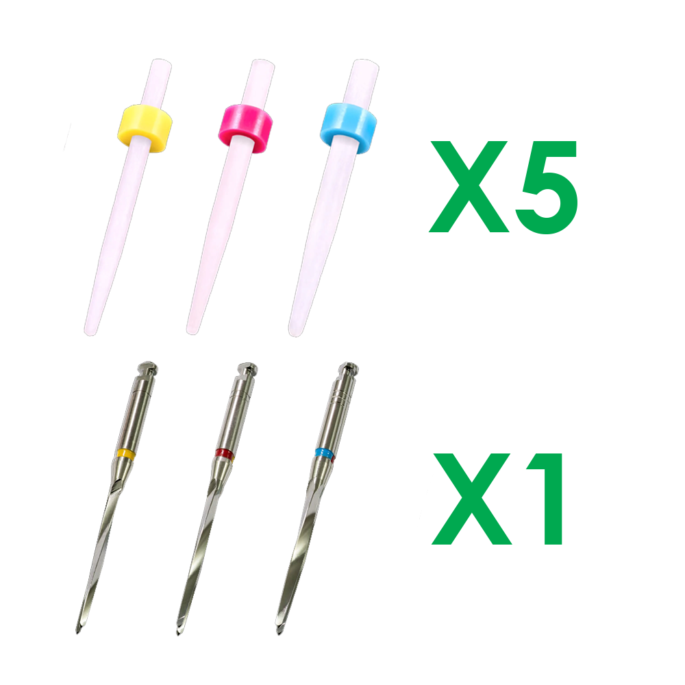 SK-8123 15 Super Fiber Posts, 5 each Ø1.35, 1.47, 1.67mm & 3 Matching Drills