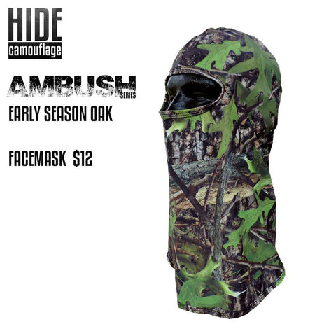hide camouflage camo ambush series early season oak woodland green leaf deer turkey hunt hunting facemask