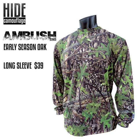 hide camouflage camo ambush series early season oak woodland green leaf deer turkey hunt hunting outerwear lifestyle tshirt long sleeve