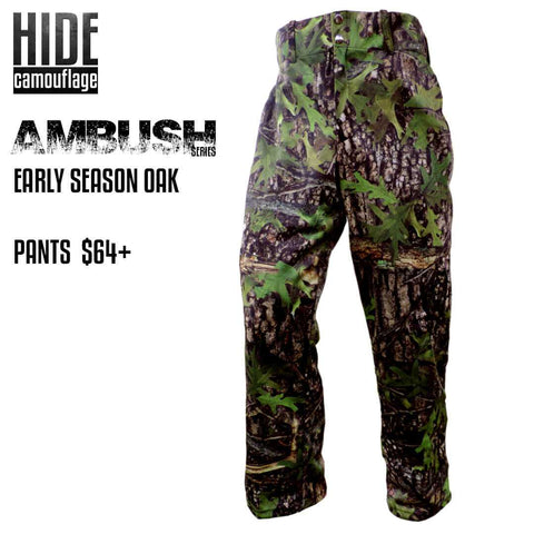 hide camouflage camo ambush series early season oak woodland green leaf deer turkey hunt hunting outerwear cargo pant pants
