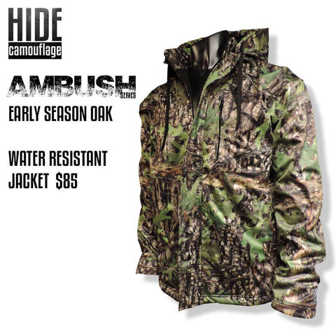 hide camouflage camo ambush series early season oak woodland green leaf deer turkey hunt hunting outerwear water resistant windproof jacket