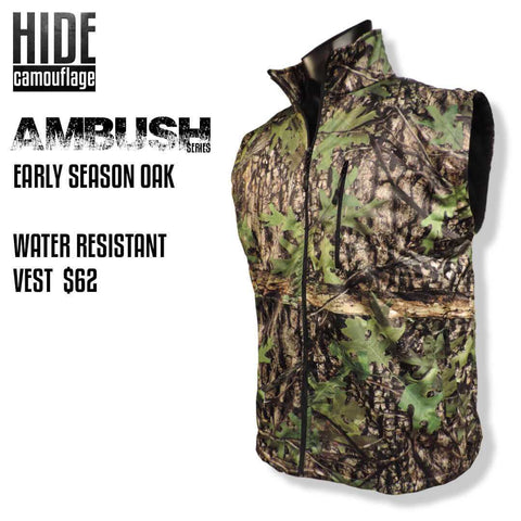 hide camouflage camo ambush series early season oak woodland green leaf deer turkey hunt hunting outerwear water resistant windproof vest