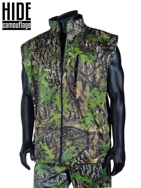 hide camouflage camo waterproof water resistant ambush series early season oak bark woodland green leaf deer turkey hunt hunting outerwear lifestyle vest