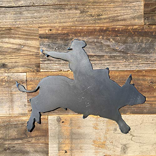 The Heritage Forge Rustic Home, Cowboy Riding Bull Sign 14 x 12, Farmhouse, Metal Words, Kitchen Wall Decor, Home Decor, Farmhouse Sign, Motivational