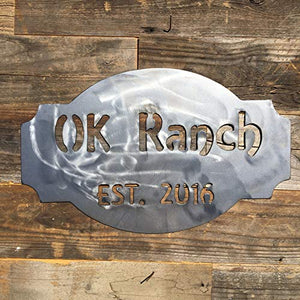 Custom Name and Date Ranch Sign - The Heritage Forge - 18 x 12