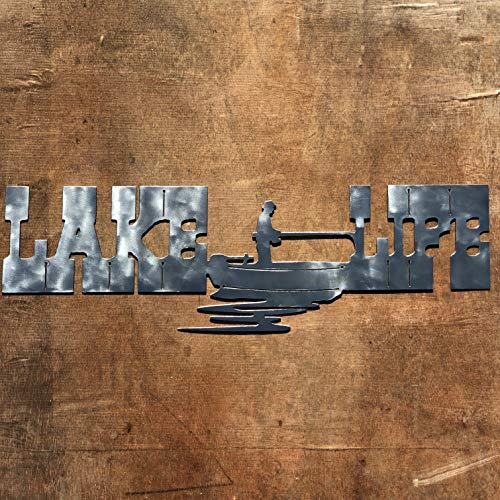 The Heritage Forge Rustic Home, Lake Life - with Fisherman - 24 x 8, Motivational, Metal Words, Kitchen Wall Decor, Home Decor, Farmhouse Sign, Motivational