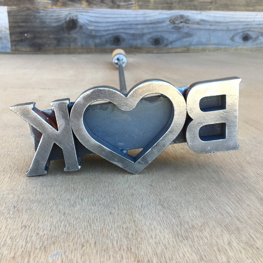 Custom Initial and Heart Branding Iron Stamp - Cowboy Monogram - The Heritage Forge
